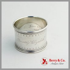 Beaded Engraved Napkin Ring Sterling Silver 1913 Mono