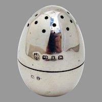 English Egg Form Salt Shaker Zimmerman Sterling Silver 1897