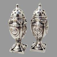 Ornate Salt Pepper Shakers Set English Sterling Silver 1888