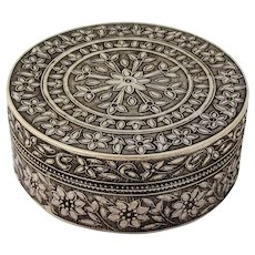 Floral Design Round Box Southeast Asian 700 Silver