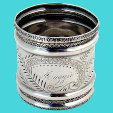 Towle Aesthetic Engraved Napkin Ring Sterling Silver Mono Maggie