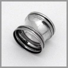 Waisted Napkin Ring Beaded Border Sterling Silver No Mono