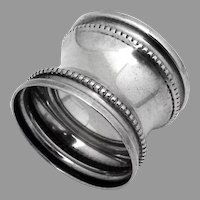 Waisted Napkin Ring Beaded Border Sterling Silver No Mono