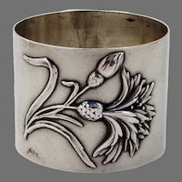Floral Napkin Ring French Sterling Silver Mono 1883 LR 1908
