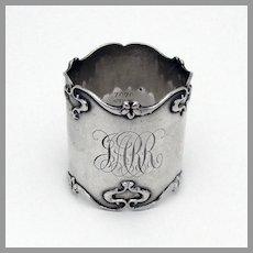 Art Nouveau Napkin Ring Sterling Silver Mono JARR