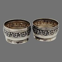 Open Salt Dishes Pair Watrous Sterling Silver