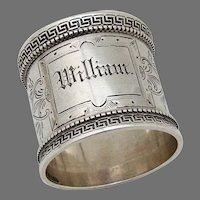 Greek Key Border Napkin Ring Wood Hughes Sterling Silver Mono William