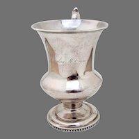 Large Cup Stebbins Coin Silver NY 1850 Mono Caroline M Crane