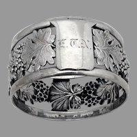 Openwork Grape Design Napkin Ring Coin Silver 1865 Mono ETN