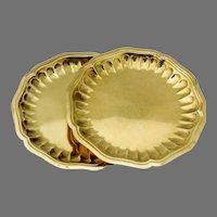 Bread Butter Plates Pair Gilt Sterling Silver Emile Puiforcat France