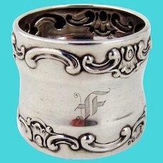Strasbourg Napkin Ring Gorham Sterling Silver Mono F English Import Marks