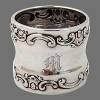 Strasbourg Napkin Ring Gorham Sterling Silver Mono M English Import Marks