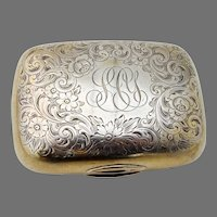 Engraved Floral Soap Box Gorham Sterling Silver Gold Wash Mono SCY