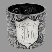 Floral Repousse Napkin Ring Sterling Silver 1880s Mono IJK