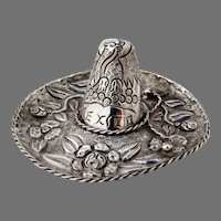 Sombrero Hat Figurine Mexican Sterling Silver