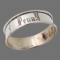 Narrow Napkin Ring Reed Barton Sterling Silver Mono Penny