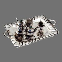 Miniature Tea Set Sterling Silver Turquoise Finials