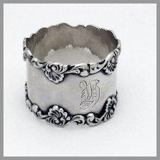 Baroque Shell Scroll Napkin Ring Sterling Silver 1900 Mono H