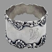 Baroque Shell Scroll Napkin Ring Sterling Silver 1900 Mono H