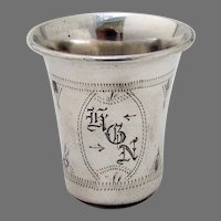 Engraved Shot Cup Sterling Silver Mono HGN