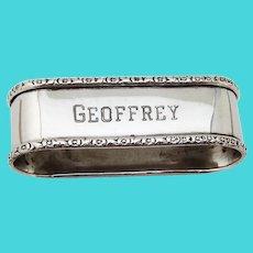Oval Napkin Ring Webster Sterling Silver Mono Geoffrey