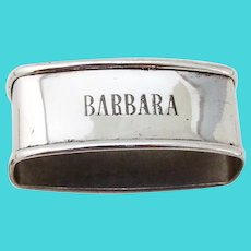Oval Napkin Ring Webster Sterling Silver Mono Barbara