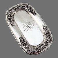 Repousse Floral Dresser Tray Kirk Son Sterling Silver Mono EWJ