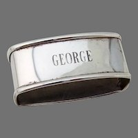 Oval Napkin Ring Webster Sterling Silver Mono George