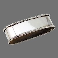 Oval Napkin Ring Applied Rims Lunt Sterling Silver No Mono