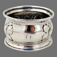 Leaf Vine Design Napkin Ring Coin Silver Mono CS