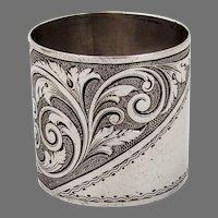 Engraved Scroll Design Napkin Ring Coin Silver Mono A MvP