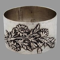 French Napkin Ring Applied Flowers 800 Silver No Mono