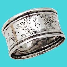 Engraved Napkin Ring Webster Sterling Silver Mono E
