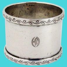 Napkin Ring Vine Border Gorham Sterling Silver Mono O