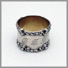 Floral Border Napkin Ring Sterling Silver 1900 Mono CWW