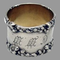 Floral Border Napkin Ring Sterling Silver 1900 Mono CWW