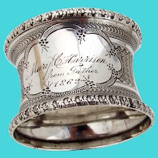 Engine Turned Napkin Ring Coin Silver Mono 1862
