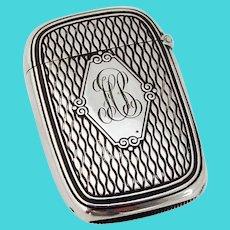 Ornate Match Safe Box Sterling Silver Mono HB