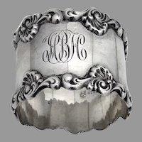 Baroque Shell Napkin Ring Towle Sterling Silver 1900 Mono HBH