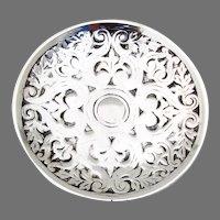 Tiffany Ornate Round Dish Cast Sterling Silver No Mono