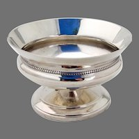 Footed Open Salt Dish Beaded Rim Whiting Sterling Silver