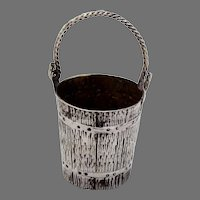 Bucket Form Shot Cup Swing Handle Sterling Silver
