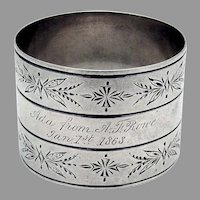 Engraved Foliate Milled Napkin Ring Coin Silver 1868 Mono