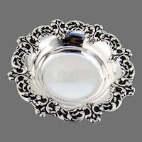Small Serving Bowl Repousse Border Amston Sterling Silver