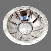 Serving Bowl English Coin Insert Hammered Finish Sterling Silver