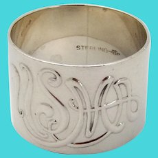 USMA Napkin Ring Webster Sterling Silver Mono 1950
