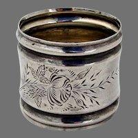 Engraved Rose Design Napkin Ring Sterling Silver Mono FVG