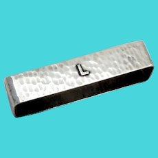 Rectangular Hammered Napkin Ring Lebolt Sterling Silver Mono L