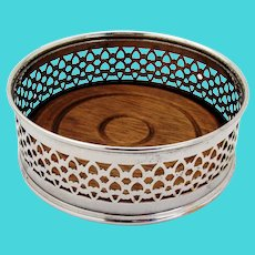 Openwork Wine Coaster Silver Plated Wooden Base