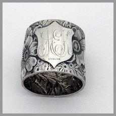 Floral Repousse Napkin Ring Sterling Silver 1880s Mono MEK